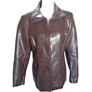 Denim & Co | Women's Brown Faux Leather jacket